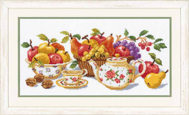 Vervaco Counted Cross Stitch Kit: Afternoon Tea Fruits & Food CSK
