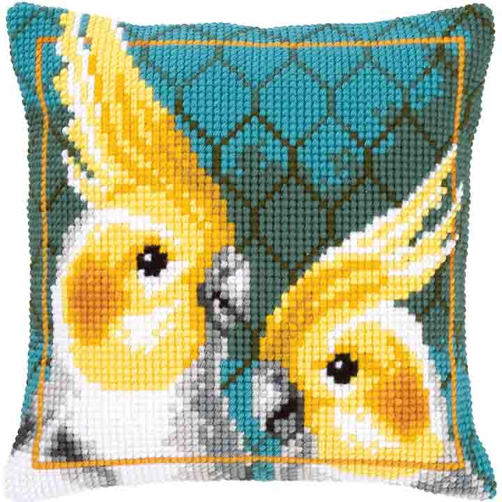Vervaco Cross Stitch Cushion: Cockatiels Birds CSCK