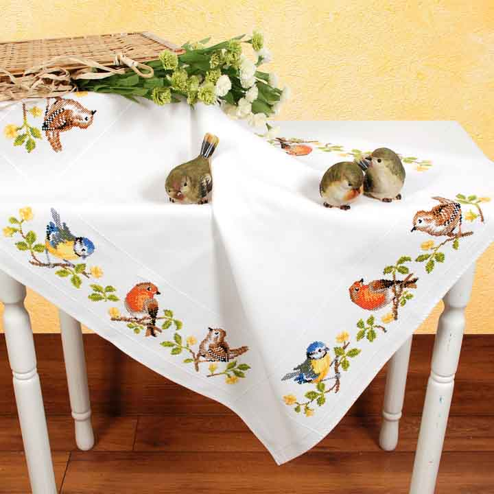 Vervaco Counted Cross Stitch Kit: Tablecloth: Garden Birds Runners and Tablecloths CSK