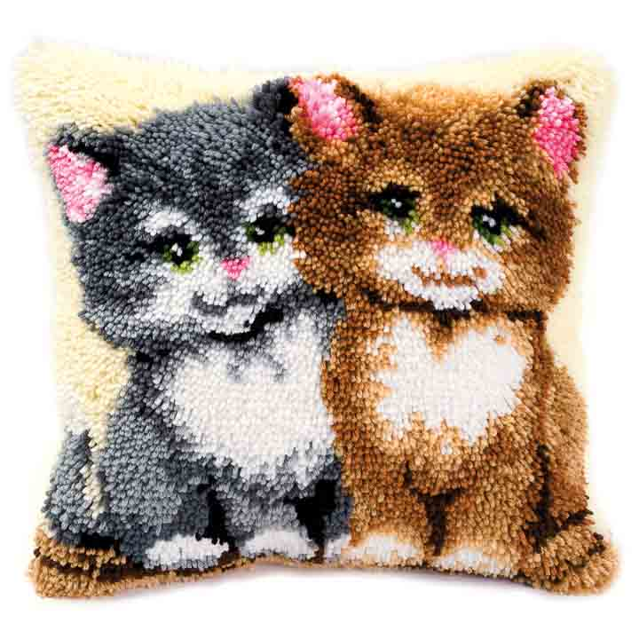Vervaco Latch Hook Kit: Cushion: Kittens Latch Hook Cushion Kit