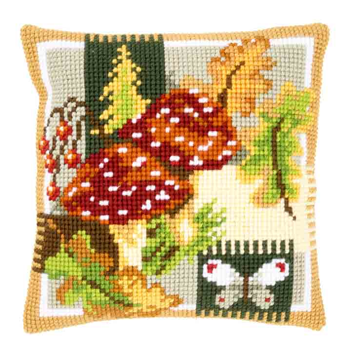 Vervaco Cross Stitch Cushion: Fly Agarics Flowers & Nature CSCK