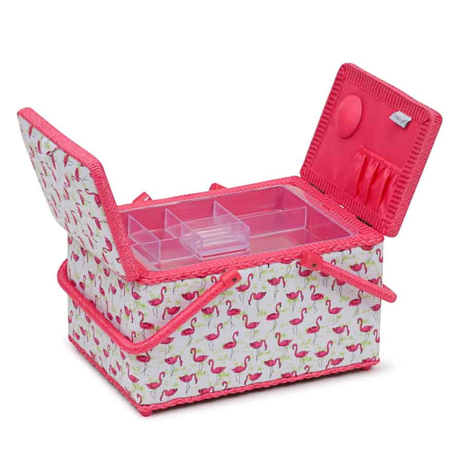 HobbyGift Classic Collection: Twin Lid Rectangular Sewing Box: Flamingo Flock | HGTLR_473 Bird Print Sewing Box 2