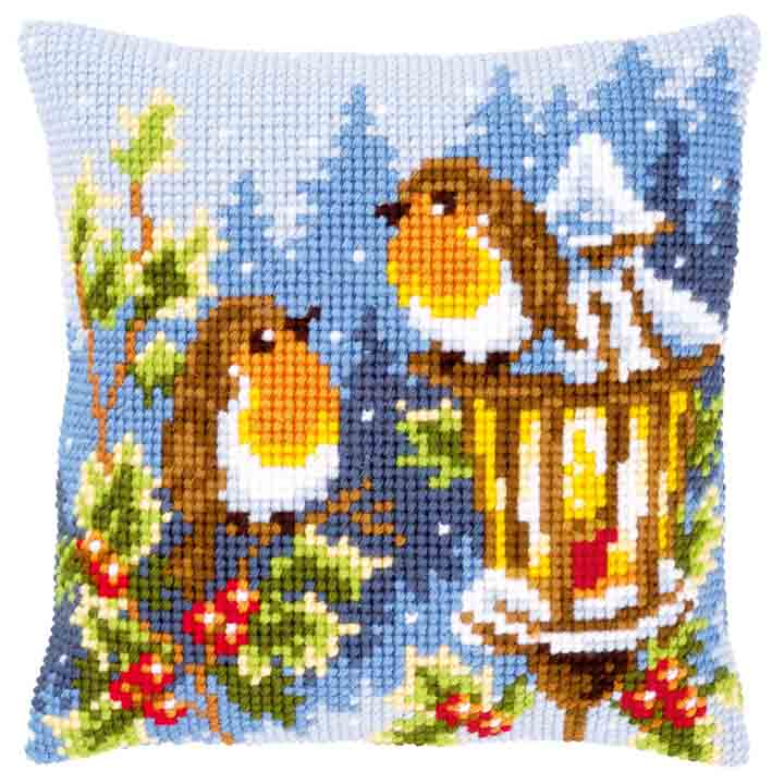 Vervaco Cross Stitch Cushion: Robins at the Lantern Birds CSCK