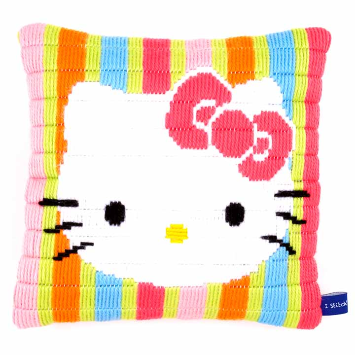 Vervaco Long Stitch Cushion: Hello Kitty Striped