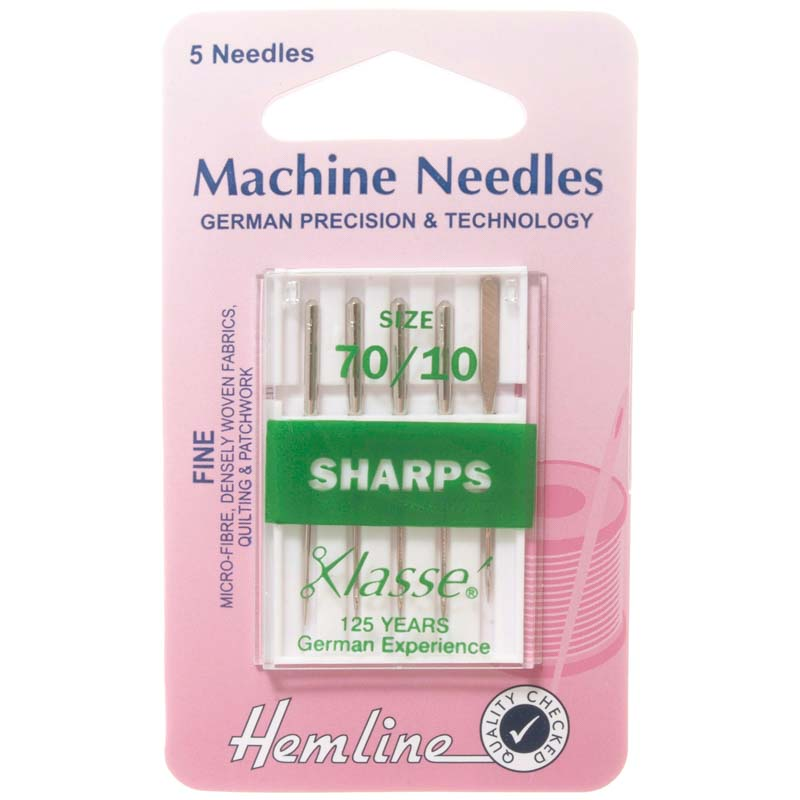 Hemline Sewing Machine Needles: Sharp/Micro: Fine 70/10: 5 Pieces