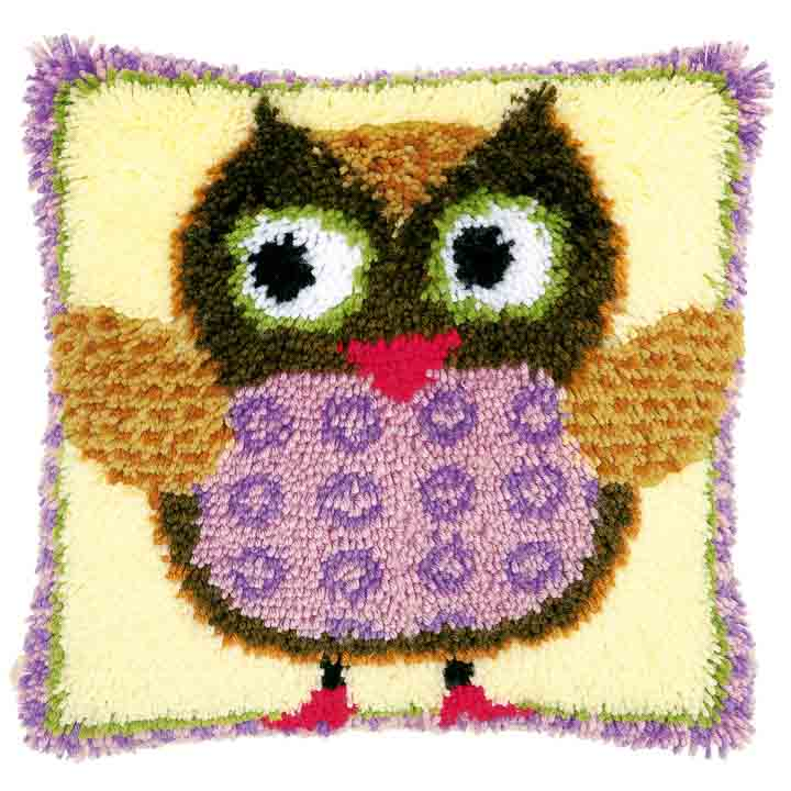 Vervaco Latch Hook Cushion Kit: Miss Owl