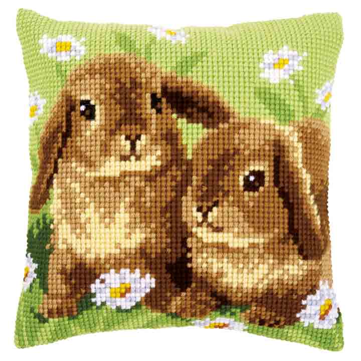 Vervaco Cross Stitch Cushion Kit: Two Rabbits