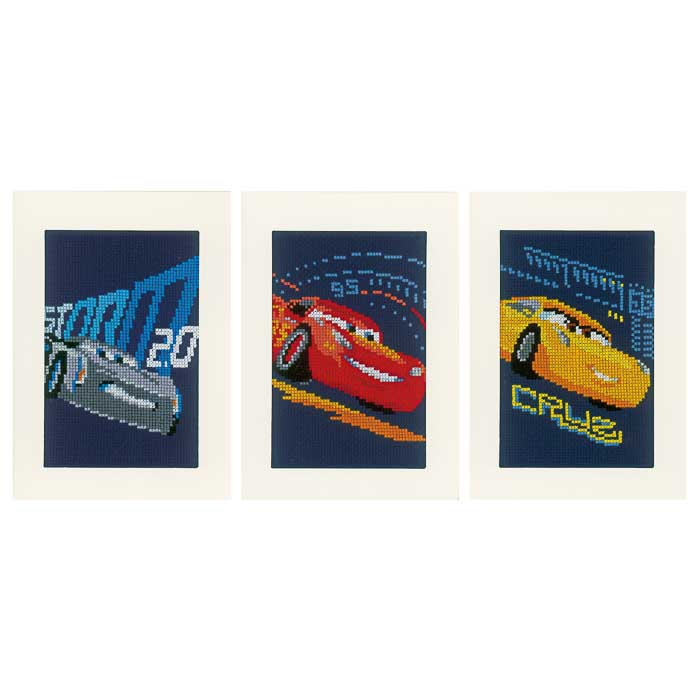 Vervaco Counted Cross Stitch Kit: Cards: Disney: Cars - Screeching Tyres: Set of 3 | PN_0168588 Cars & Transport CSK