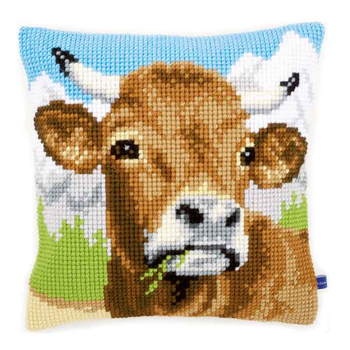Vervaco Cross Stitch Cushion: Cow