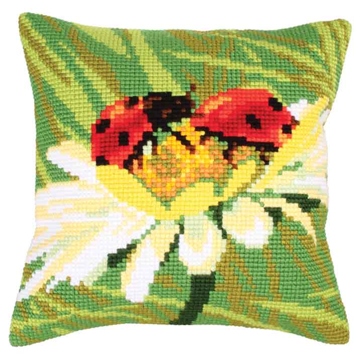 Collection D Art Cross Stitch Cushion: Ladybug on Camomile Insects & Bugs CSCK