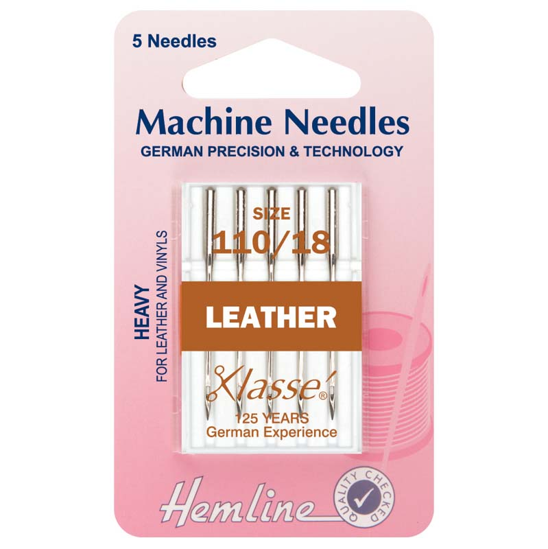Hemline Sewing Machine Needles: Leather: Heavy 110/18: 5 Pieces