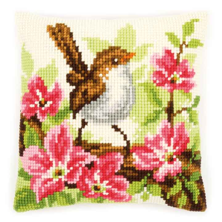 Vervaco Cross Stitch Cushion: Bird and Pink Flowers Birds CSCK