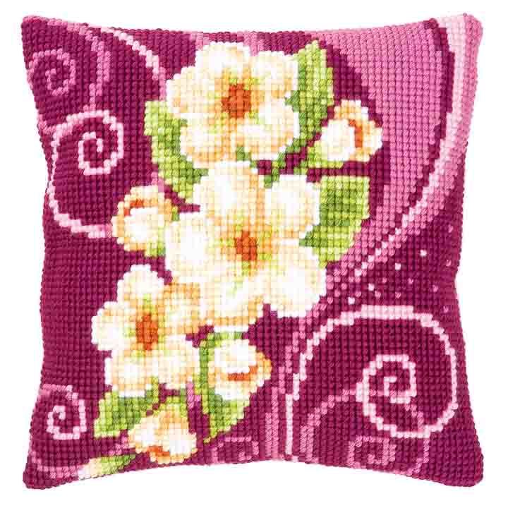 Vervaco Cross Stitch Cushion: Camellia 2 Flowers & Nature CSCK