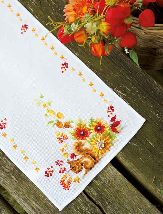 Vervaco Counted Cross Stitch Table Runner: Squirrel in Autumn