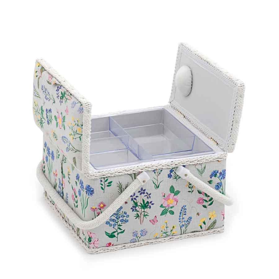 HobbyGift Sewing Box (L): Twin Lid: Square: Spring Garden | MRLTLE_272 Tree Print Sewing Box 2