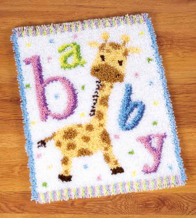 Vervaco Latch Hook: Rug: Baby Giraffe II Latch Hook Rug & Wall Hanging Kit