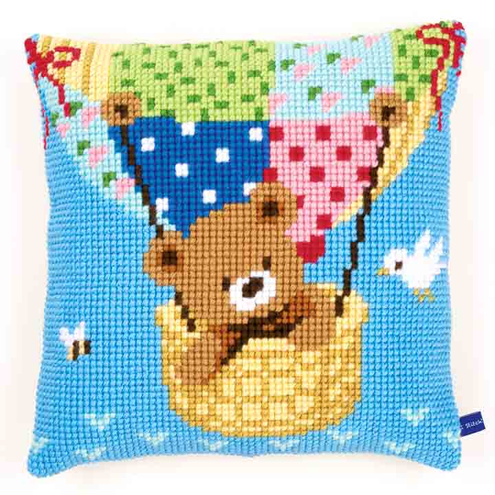 Vervaco Cross Stitch Cushion: Bear in a Hot Air Balloon