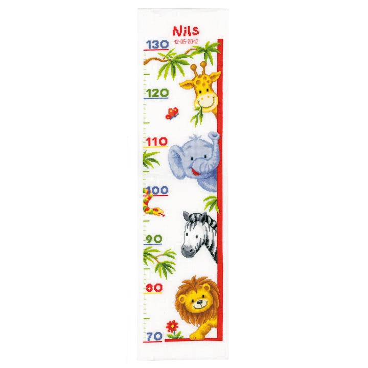 Vervaco Counted Cross Stitch Kit: Height Chart: Zoo Animals - Clearance