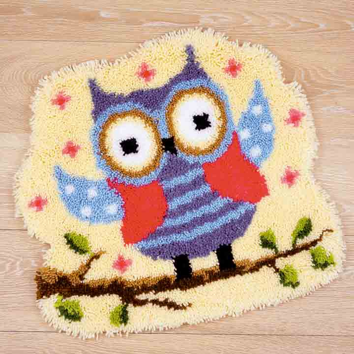 Vervaco Latch Hook Shaped Rug: Owl Latch Hook Rug & Wall Hanging Kit