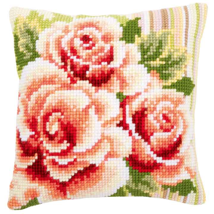 Vervaco Cross Stitch Cushion: Pink Roses I Flowers & Nature CSCK
