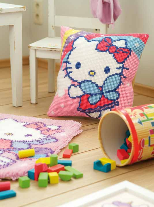 Vervaco Cross Stitch Cushion: Hello Kitty and Rainbow