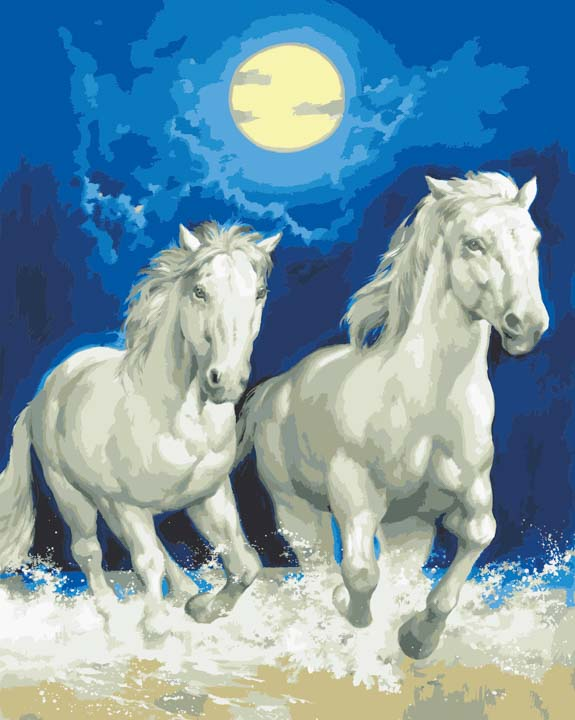 Collection D Art Printed Tapestry Canvas: White Horses by Moonlight Animals & Birds PTC