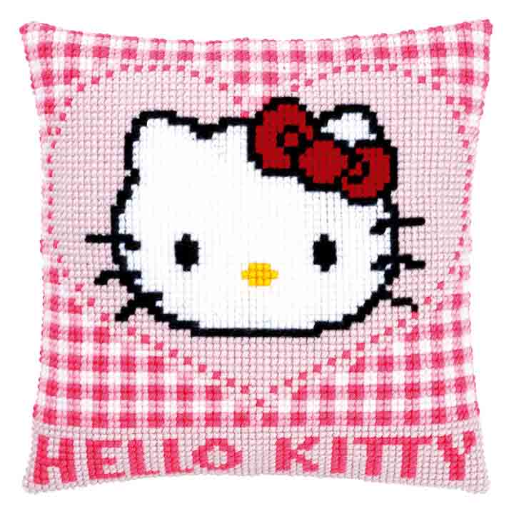 Vervaco Cross Stitch Cushion: Hello Kitty: In a Heart Characters CSCK