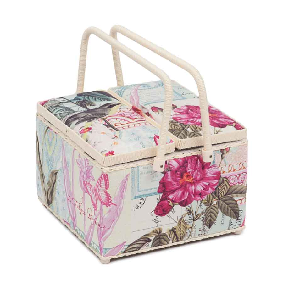HobbyGift Classic Collection: Twin Lid Square Sewing Box: Belle Rose | HGTLE_483