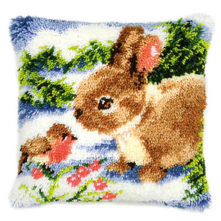 Vervaco Latch Hook Kit: Cushion: Winter Scene Rabbit and Robin