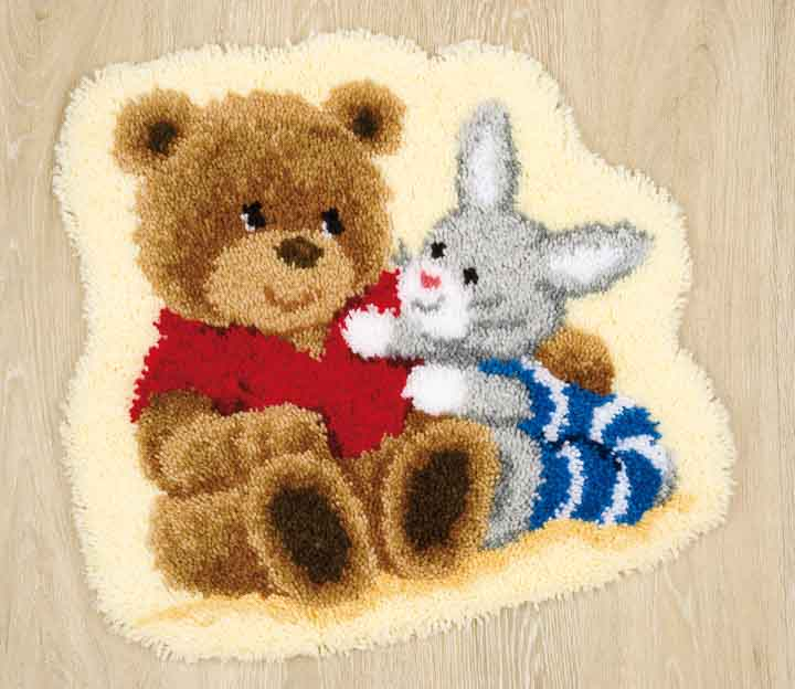 Vervaco Latch Hook Rug Kit - Teddy Bunny Latch Hook Rug & Wall Hanging Kit