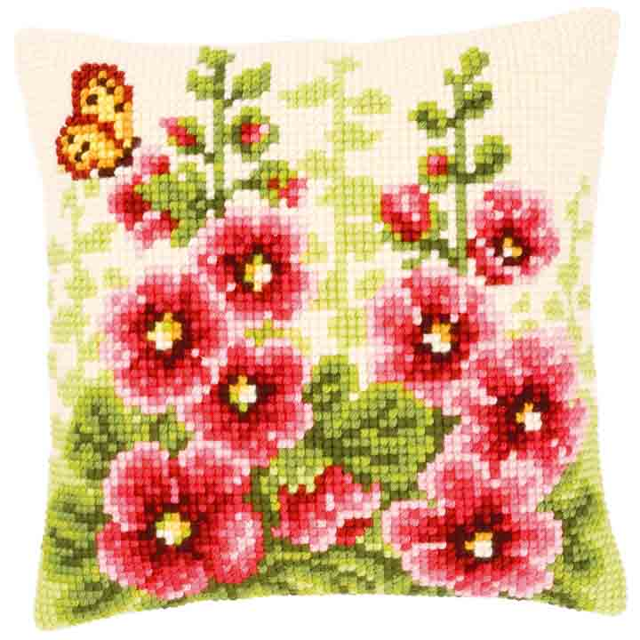 Vervaco Cross Stitch Cushion: Delphiniums Flowers & Nature CSCK