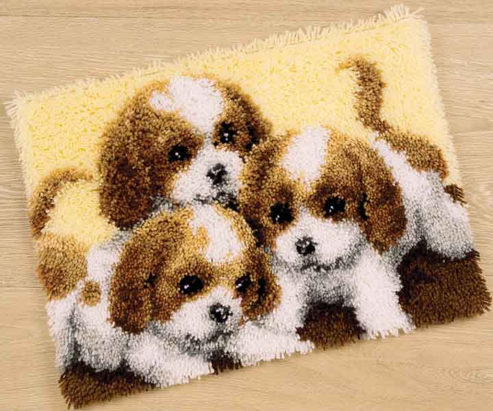 Vervaco Latch Hook Rug Kit: Three Puppies