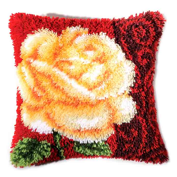 Vervaco Latch Hook Kit: Cushion: Rose