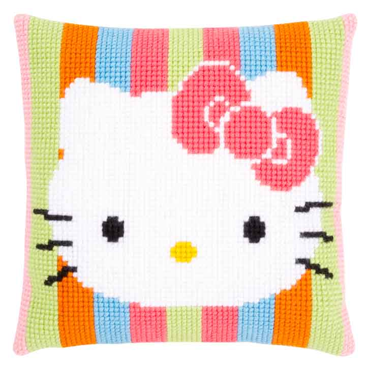 Vervaco Cross Stitch Cushion: Hello Kitty: Striped Characters CSCK