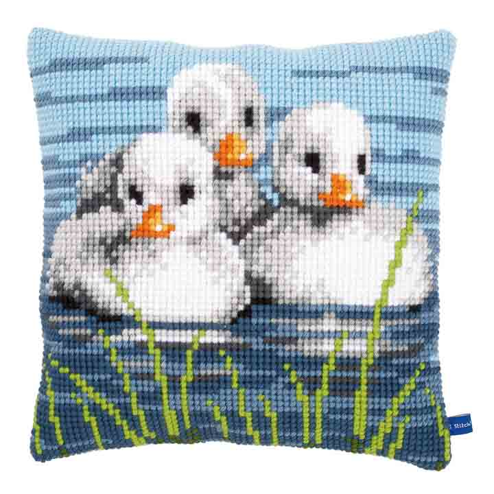 Vervaco Cross Stitch Cushion: Ducklings in the Water Birds CSCK