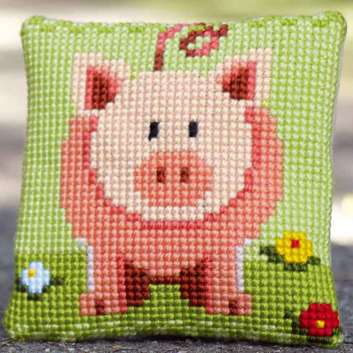 Vervaco Cross Stitch Cushion: Little Piggy