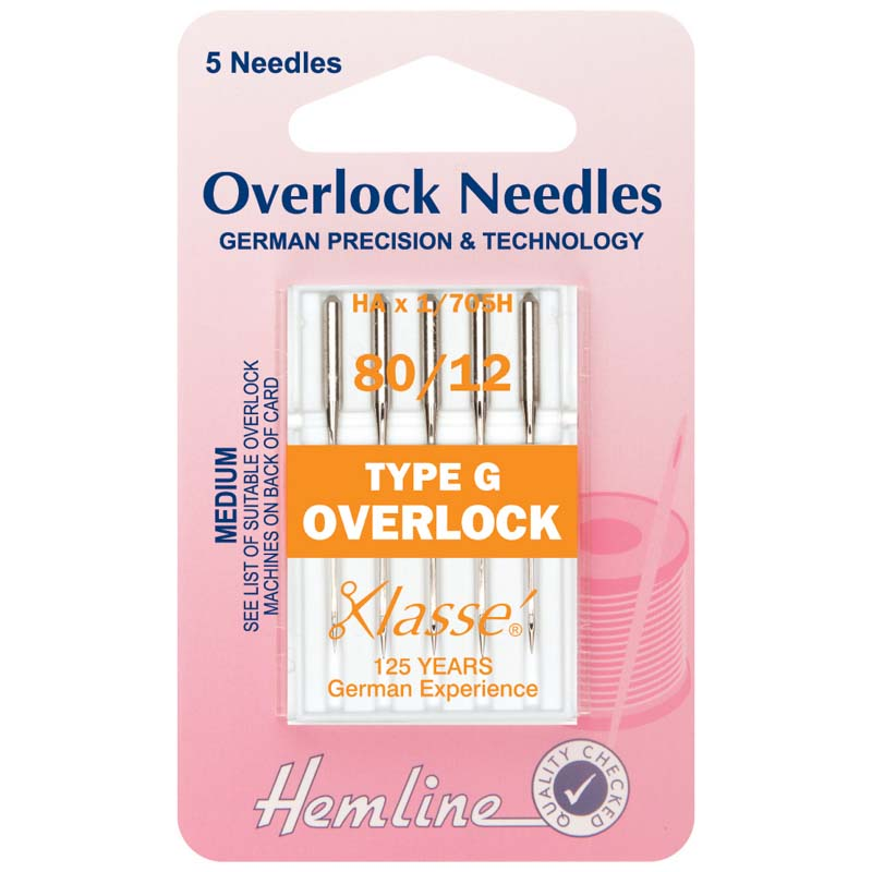 Hemline Overlock/Serger Machine Needles: Type G: 80/12: 5 Pieces