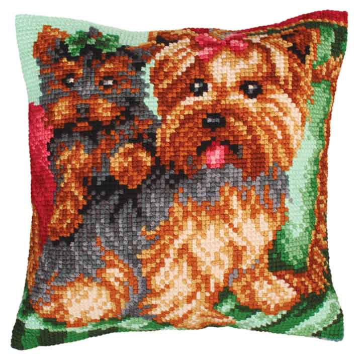 Collection D Art Cross Stitch Cushion: Dogs on the Armchair Animals & Birds CSCK