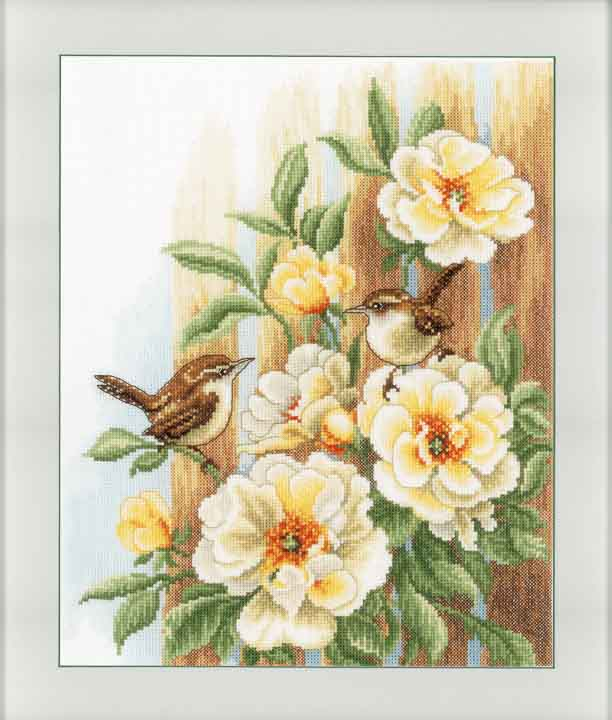 Vervaco Counted Cross Stitch: Wrens On Roses