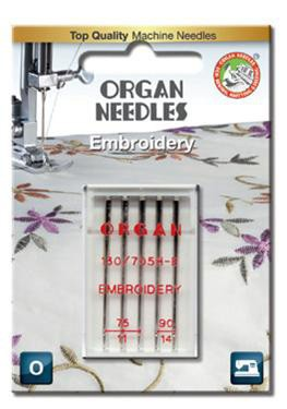 Organ Embroidery Sewing Needles | BLISTER PACK Mix Sizes 75 & 90 | 5 Needles Per Pack
