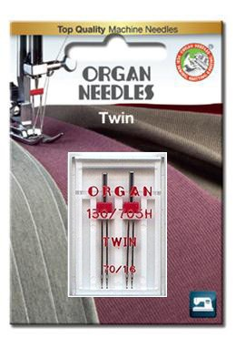 Organ Twin Needles | BLISTER PACK Size 70 / 1.6 | 2 Needles Per Pack