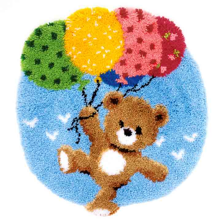 Vervaco Latch Hook Rug: Bear with Balloons Latch Hook Rug & Wall Hanging Kit