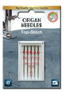 Organ Top Stitch Sewing Needles | BLISTER PACK Size 90/14 | 5 Needles Per Pack