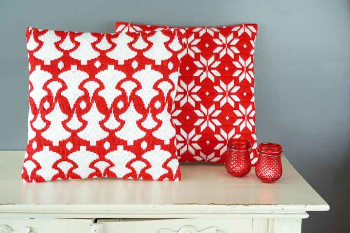 Vervaco Long Stitch: Cushion: Christmas Trees Long Stitch Craft Kit