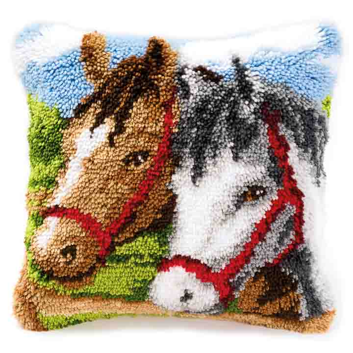 Vervaco Latch Hook Kit: Cushion: Ponies Latch Hook Cushion Kit