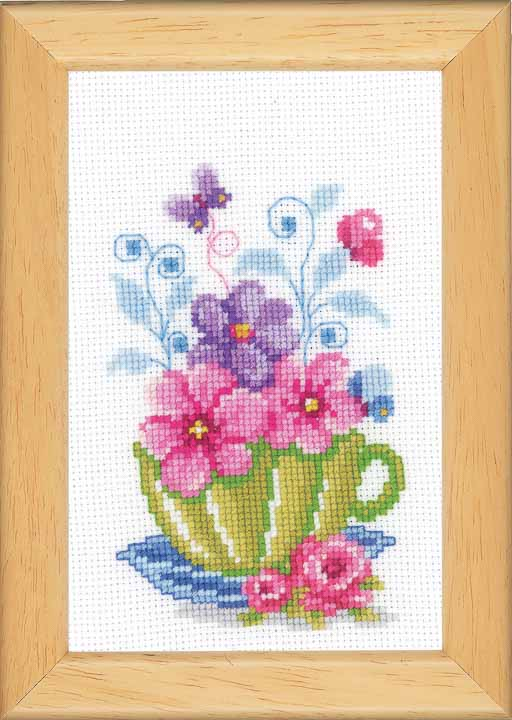 Vervaco Counted Cross Stitch Kit: Green Tea Cup & Flowers