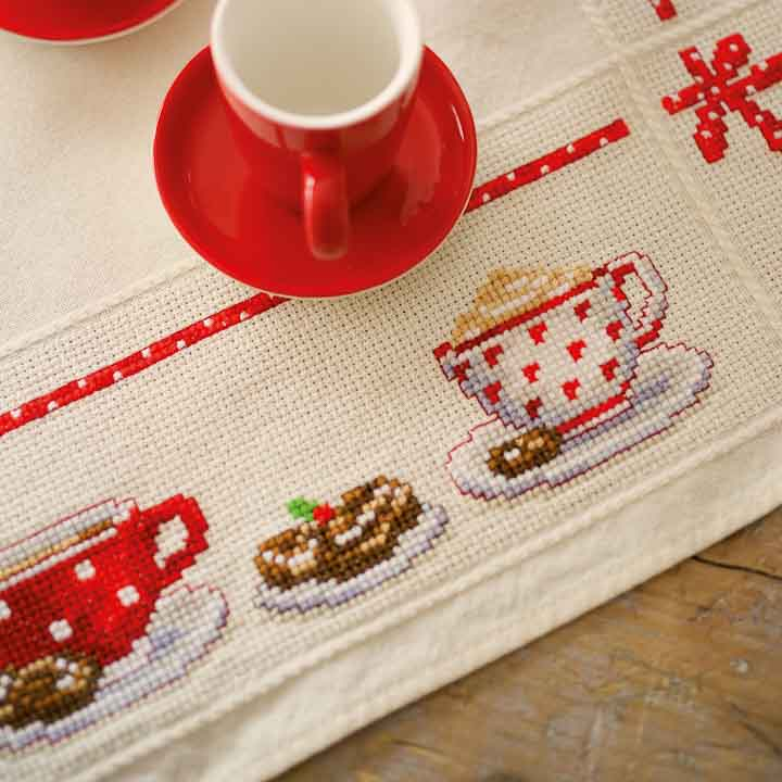 Vervaco Counted Cross Stitch Tablecloth: Coffee Break Runners and Tablecloths CSK