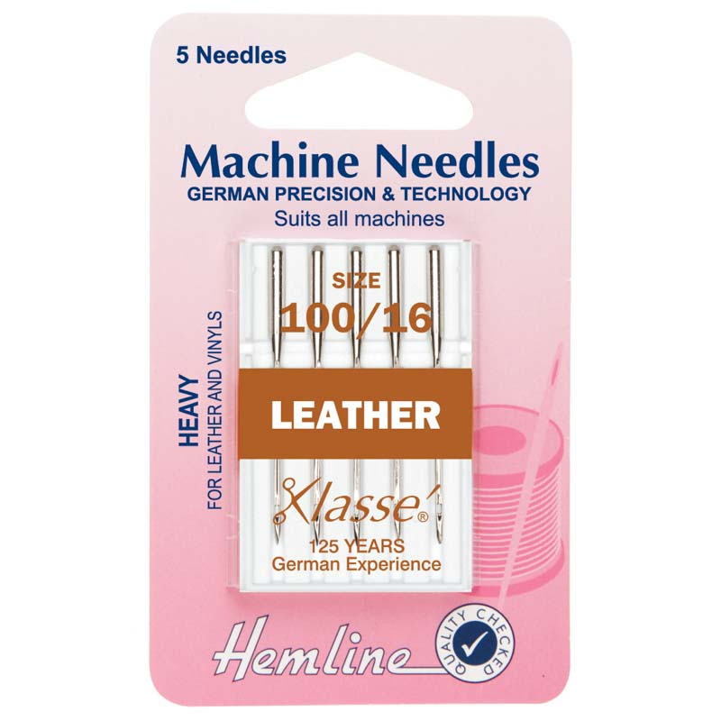Hemline Sewing Machine Needles: Leather: Heavy 100/16: 5 Pieces