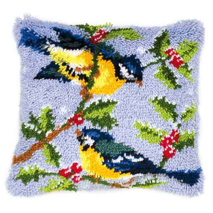 Vervaco Latch Hook Kit: Cushion: Winter Scene Blue Tits