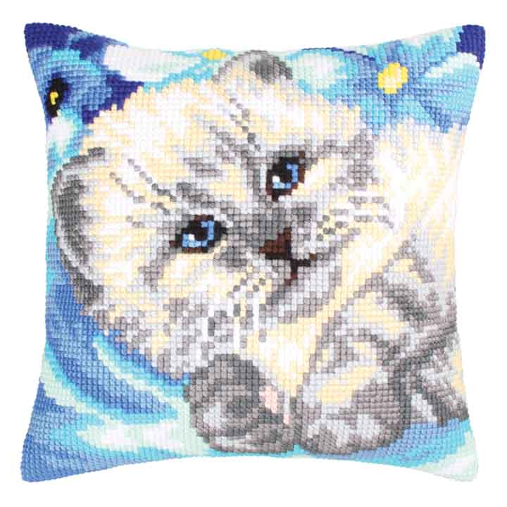 Collection D Art Cross Stitch Cushion: Cute Kitten